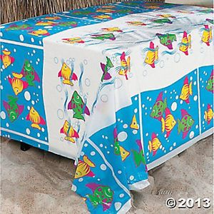 Set of 2 Tropical Fish Table Cover Hawaiian Luau Birthday Party Decorations