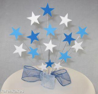Blue and White Stars Birthday Cake Topper