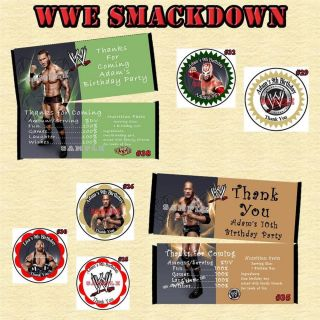 WWE Wrestling Birthday Sticker Candy Wrapper More Personalized Custom Made