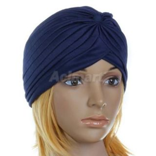 New Head Wrap Indian Style Turban Hat Navy Blue