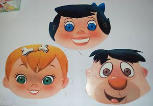 Hanna Barbera Cutouts Carton Party Supplies Flintstones Pebbles Fred Betty Mask