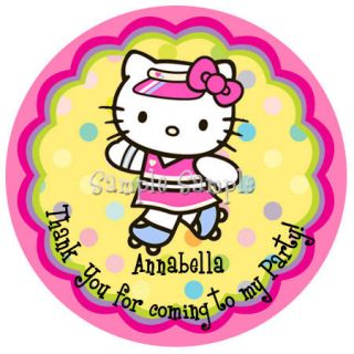 Personalized Hello Kitty Roller Skates Labels Stickers Favors 2 25 Round 12ct