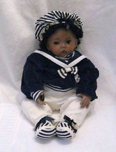 Black Baby Boy Doll Porcelain Head Hands Sailor Suit Dianna Effner Mold German