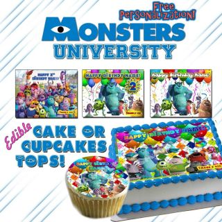 Monsters Inc University Edible Cake or Cupcake Toppers Picture Sugar Birthday