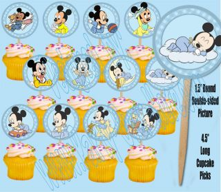 """Baby Mickey Mouse 1 5"""" Cupcake Picks Cake Topper 12 PC"""