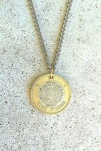 Vintage Mexico Diez Peso Foreign Coin Jewelry Supply Necklace Silver Gold Charm