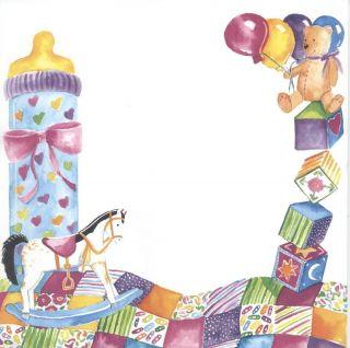 Blank Printable Designer Girl's Baby Shower Invitations w Envs Rocking Horse