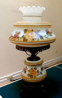 "Vintage GWTW Parlor Hurricane Lamp Large 28"" Hand Painted Globes"