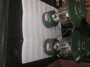 """2 Coleman Clean 228 Gas Lanterns with """"Big Hats"""" Pyrex Globes and Run Great"""