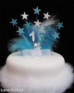 Turquoise and White Star Birthday Cake Topper Any Age with Feathers