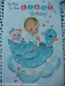 Vintage Greeting Card 'First Birthday' Baby Boy Girl Child Teddy Bear Duck
