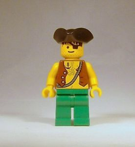 Lego Pirates Minifig Pirate Minifigure w Eye Patch Anchor Tattoo