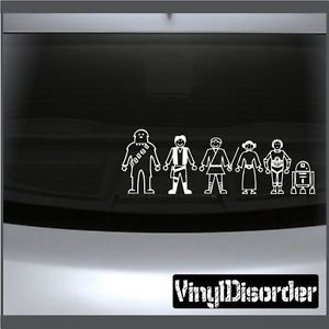 Family Decal Set Star Wars Family Stick People Car or Wall Vinyl Decal Stickers