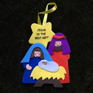"""Colorful Nativity Christmas Ornament Craft Kit Foam """"Jesus Is The Best Gift"""""""
