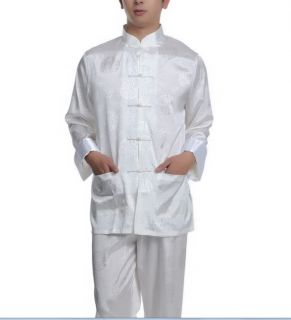 Black Burgundy Blue White Chinese Silk Men's Kung Fu Suit Sz M L XL XXL XXXL