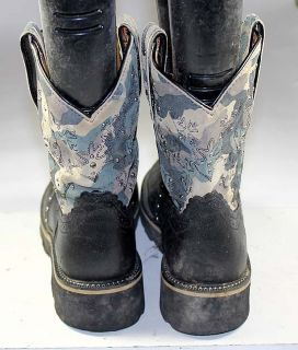 Ariat Fat Baby Camouflage Leather Western Cowboy Roper Boots Womens Sz 8 B