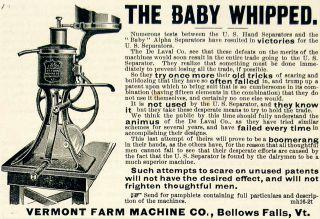 1893 Ad Vermont Farm Machine Dairy Farm Milk Cream Separator Baby Whipped Alpha