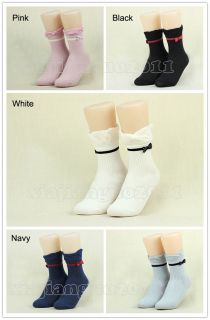 New Fashion Women's Ladies Solid Color Bow Cotton Ankle Socks 5 Colour Choose