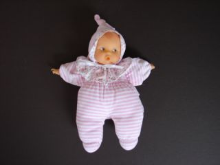 Corolle Pink White Stripe Soft Plush Baby Doll Lovey