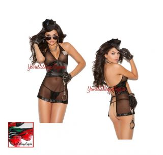 Naughty Cop Costume Sexy Open Back Babydoll for Bedroom Police Woman 4 PC Set OS