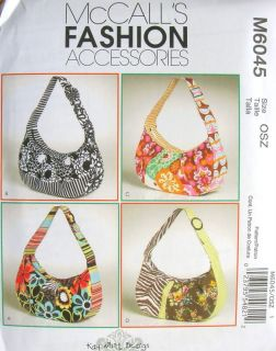 M6045 McCall's Pattern Bag Purse Tote 4 Styles Free US Shipping