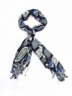 New Ebony Black with Blue Grey Pebbles Head Scarf Hijab Neck Wrap 180x63cm