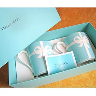 Tiffany Co Blue Bow Coffee Tea Cup Set Bone China Pottery Pair w Gift Box
