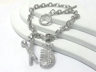 New Hair Stylist Crystal Scissors Comb Charm Bracelet