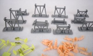 Huge Lot of HO Scale BB Plastic Model Train People Figures Signs More