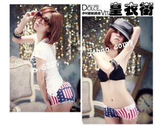 Hot Sexy Girl Woman Nightclub Pole Dancing Summer Stars and Stripes Shorts Pants