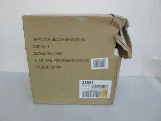Hamilton Beach 33967 Set 'N Forget Programmable Slow Cooker 6 Quart