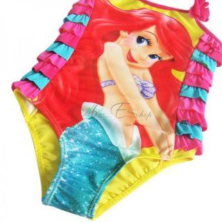 Baby Girls Kids Little Mermaid Rainbow Ruffle Swimsuit Swimwear Bathing Suit 4T