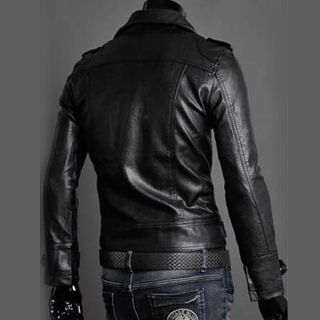 Men's Autumn Stylish Slim Fit Faux Leather Coat Jacket Motorcycle Outerwear USA