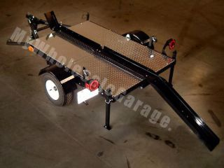 Folding Stand Fold Up Single Rail Ramp Motorcycle Trailer Kit
