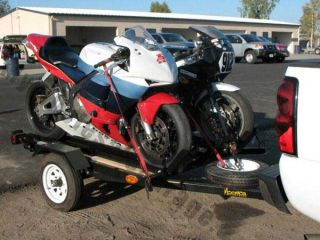 Dual Bike Hauler Carrier Motorcycle Trailer 4x5 Two Rails and Loading Ramp