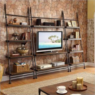 Riverside Furniture Camden Town 3 Piece Leaning TV Stand Set in Hampton Road Ash   23740 23748x2 Set