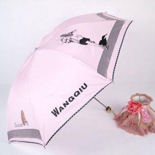 Unique Women Candy Colors Sun Rain Umbrella Cartoon Pictures Parasols Foldable