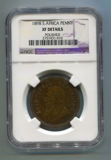 South Africa Zar NGC Graded 1898 Kruger Penny AU 58 BN Coin