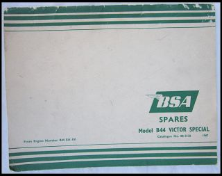 BSA Motorcycle Parts Manual Vintage Spares Book 1967 B44 Victor Special 441