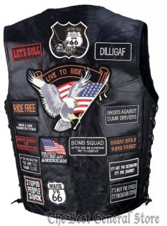 Mens Leather Motorcycle Vest with 41 Patches Lace Biker Patch Lace Up Sides New