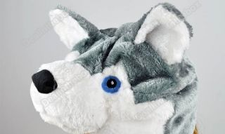 Cartoon Husky Animals Cute Plush Fancy Dress Fluffy Costume Hat Easy Pull on Top