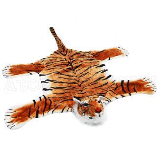 Tiger Floor Rug with Head Kitsch Retro Rockabilly Faux Fur Safari Animal Pin Up