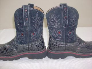 Ariat Fat Baby Black Gator and Rhinestone Women's Size 7 B Cowboy Boots 16405