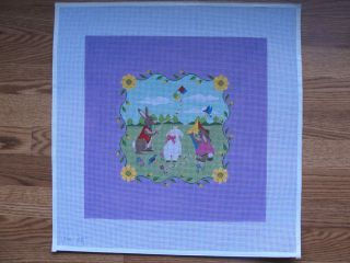 Bunnies Flying Kites Susan Roberts Hand Painted Needlepoint Canvas 15 Inch