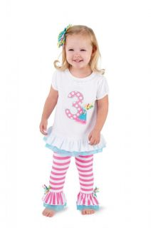 Mud Pie Birthday Wishes Cupcake Tunic Shirt Pants Set 1 2 3 Party Outfit New