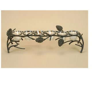 """Pinecone Lodge 6 Votive Rustic Pine Cone Candle Holder 18"""" Wide"""