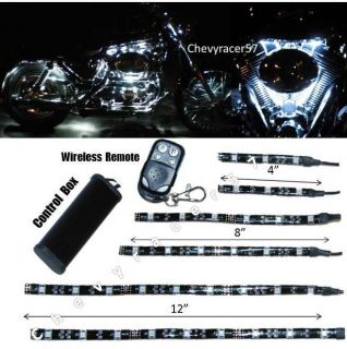 6pc White LED Motorcycle Chopper Frame Glow Lights Flexible Neon Strips 12V Kit