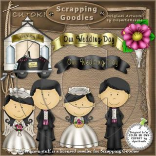 Wedding Clipart Collection Our Wedding 1 Bride Groom Bouquet Digital Scraps CU