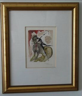Framed Salvador Dali Print The Minotaur Divine Comedy Suite Hand Signed