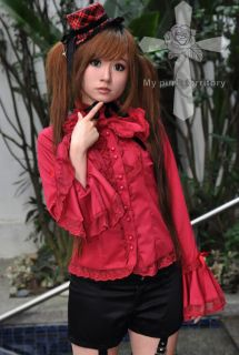 Jpop Kera Gothic Lolita EGL Baby Doll Visual Kei Punk Rock Delicious Red Shirt